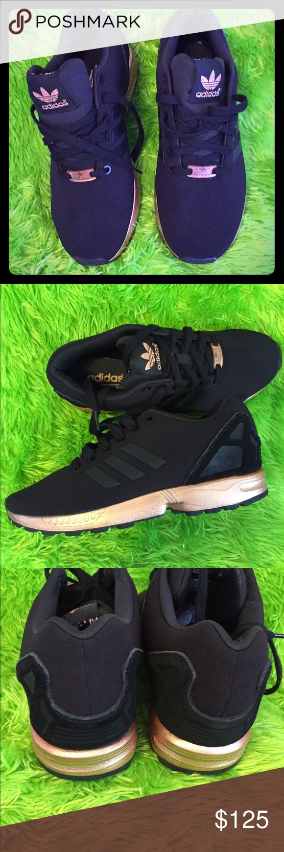 Adidas shoes Women's Adidas torsion  zx flux black copper Rose gold metallic NMD medal s78977..size 8.5..used twice..perfect condition is like new..no flaws..no box.. adidas Shoes Athletic Shoes