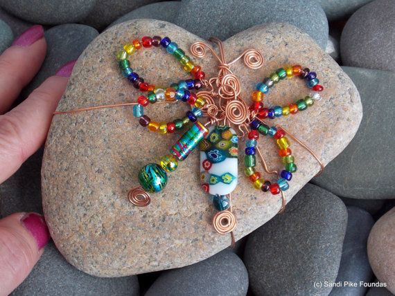 butterfly heart rock / heart stones / wire by LoveFromCapeCod