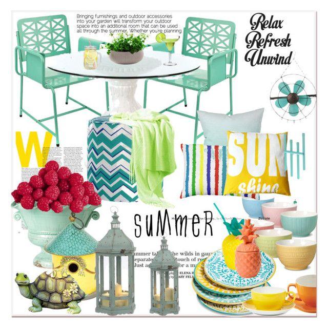 """summer outdoor dining...."" by nihal-imsk-cam on Polyvore featuring interior, interiors, interior design, ev, home decor, interior decorating, DENY Designs, Baku, Improvements ve Mikasa"