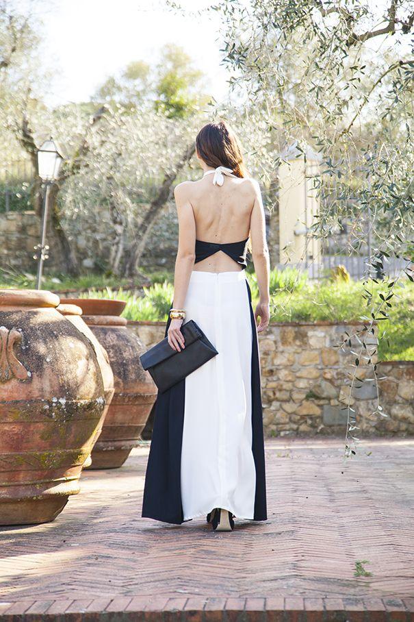 come vestirsi per un matrimonio | vestito lungo bianco e nero