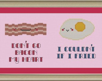 bacon and eggs cross bones | Don't go bacon my heart: nerdy bacon and eggs cross-stitch pattern ...