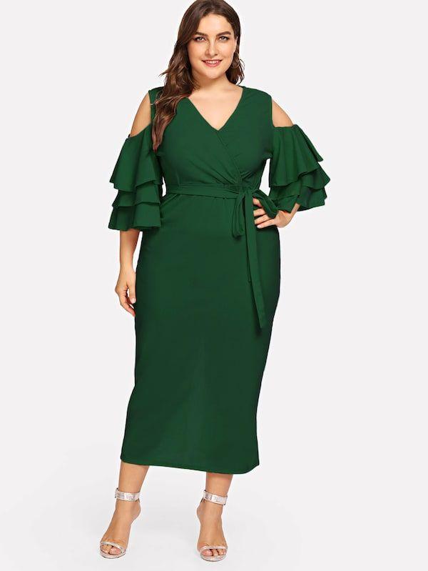 9fff264f397 Plus Open Shoulder Layered Flounce Sleeve Wrap Dress