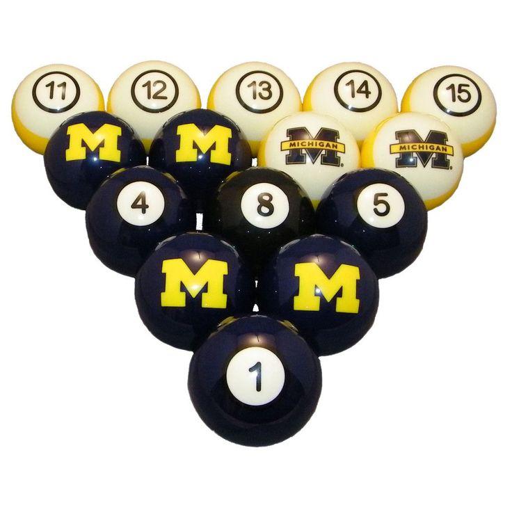 Michigan Wolverines Pool Ball Set