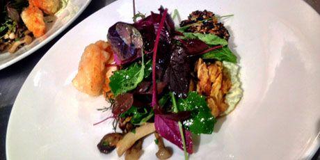 BBQ Halibut Collar & Tempura Spot Prawn Salad