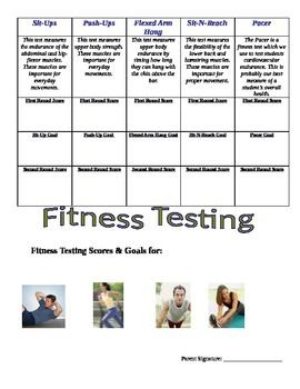 The template is used for elementary physical education students to create goals for their next round of fitness testing.