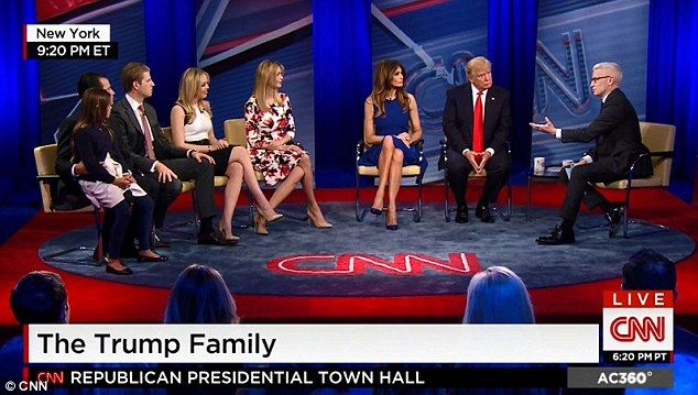 Pictured from left to right, the billionaire's wife Melania, daughters Ivanka and Tiffany, and sons Eric and Donald Jr, answered an array of questions from Anderson Cooper about their upbringings, their relationships with him and how his race for the White House affected them