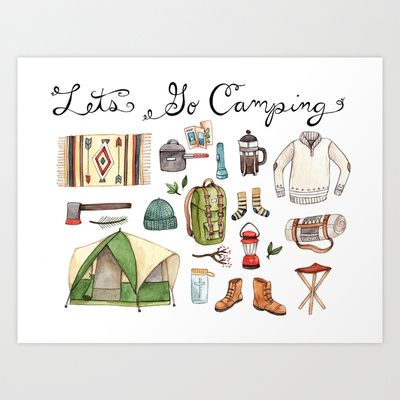 Lets Go Camping Art Print by Brooke Weeber - $16.00