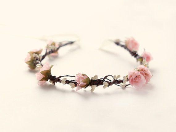Pink rose circlet, Bridal hair crown, Woodland wedding wreath, Rustic flower crown, Bridal headpiece - BALLERINA auf Etsy, 50,56€
