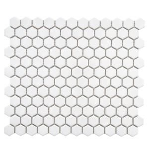 Merola Tile Metro Hex Glossy White 10-1/4 in. x 11-3/4 in. Porcelain Mosaic Floor and Wall Tile (8.54 sq.ft./case)-FXLMHW at The Home Depot