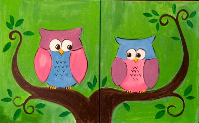Double Owls: A Mommy & Me Painting