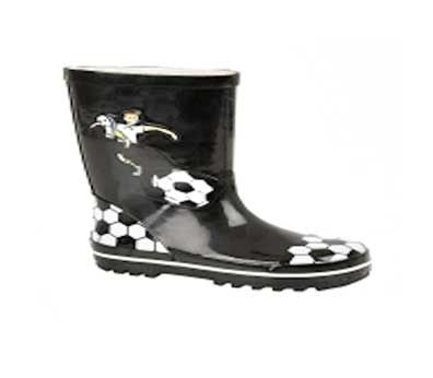 Wellington boots with black and white football design.