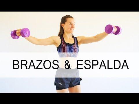 Ejercicios para BRAZOS y ESPALDA con mancuernas en casa | 25 min con Elena Malova - YouTube