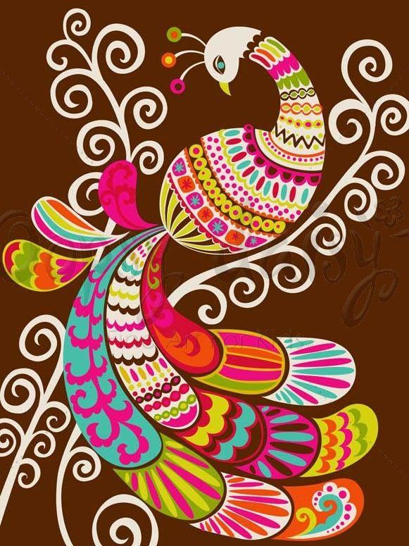 Folk Fairy Tale - Peacock - Birds Canvas Wall Art | Oopsy daisy
