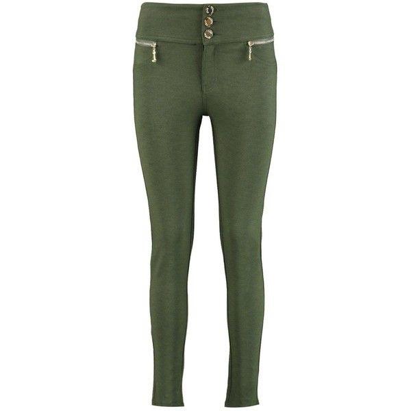 Boohoo Sophia Super Stretch Highwaist Skinny Trousers   Boohoo ($35) ❤ liked on Polyvore featuring pants, wide leg pants, green pants, high waisted skinny pants, high waisted wide leg pants and cotton palazzo pants