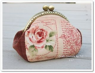 Craft Couture by T.C.: Tutorial and Pattern for Vintage Rose Frame Purse goes into good detail on how to attach frame to cloth part of purse.