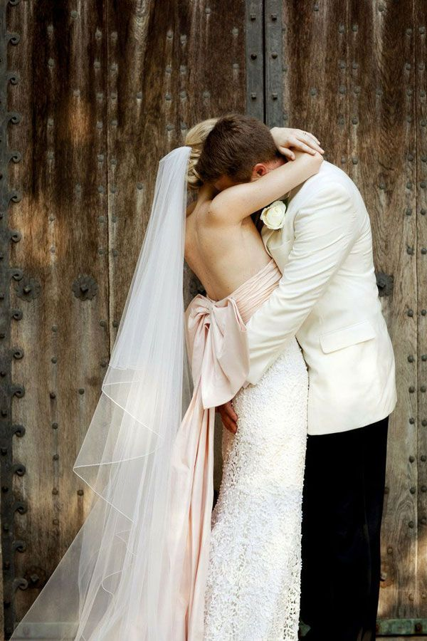 Gorgeous pale peach Wedding dress. Who says white is the only way forward?? Add a splash of colour!