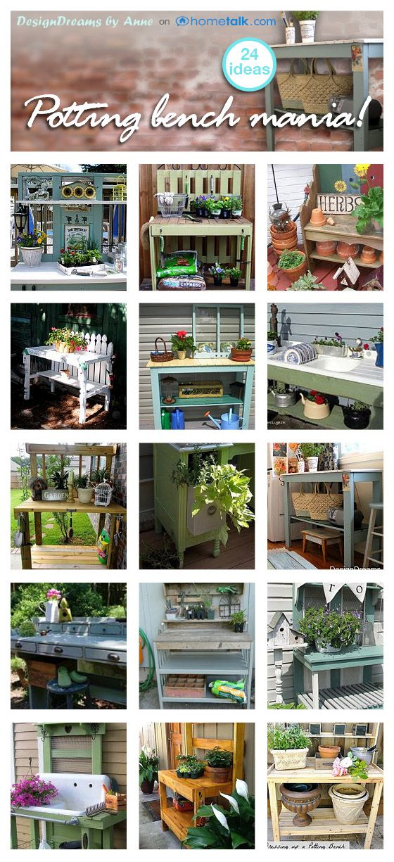 Potting Bench Mania!! Finding Inspiration | Indeed Decor                                                                                                                                                      More