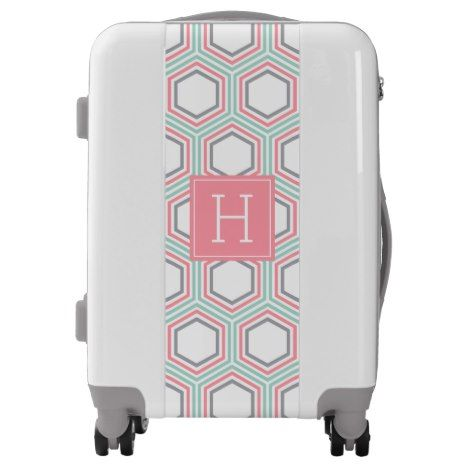 Coral Mint and Gray Geometric Pattern and Monogram Luggage #monogram #personalised #custom #named #gifts #cosmetic #makeup #beauty