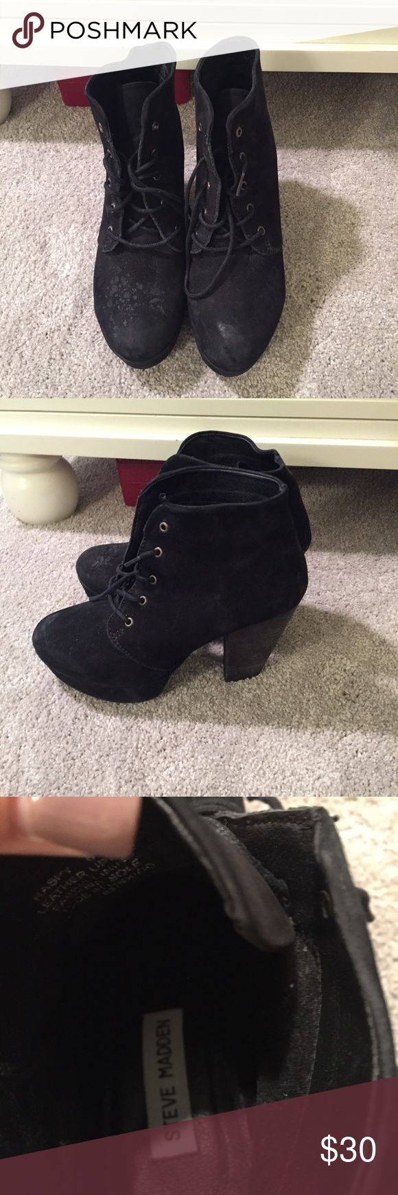 Steve Madden Raspy boots SM boots- look like the Jeffrey Campbell booties. Worn a couple of times- in good condition- as some water marks on them but will probably come off with cleaning Steve Madden Shoes Ankle Boots & Booties