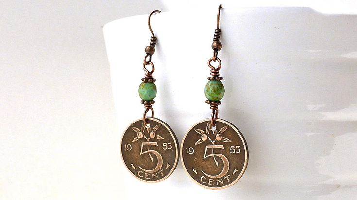 Netherlands, Coin earrings, Coin jewelry, Botanical earrings, Mint green beads, Czech beads, Dutch, Holland, Bronze earrings, Coins, 1953 by CoinStories on Etsy
