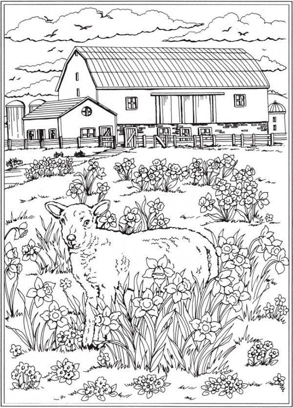 7 Spring Scene Coloring Pages Spring Coloring Pages Farm Coloring Pages Adult Coloring Pages