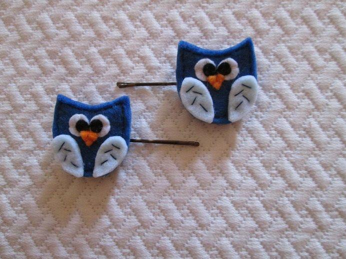 Set di due forcine con gufi blu in feltro - Fermagli per bambini - Accessori per capelli - Creazioni handmade - Regalo di compleanno di TinyFeltHeart su Etsy