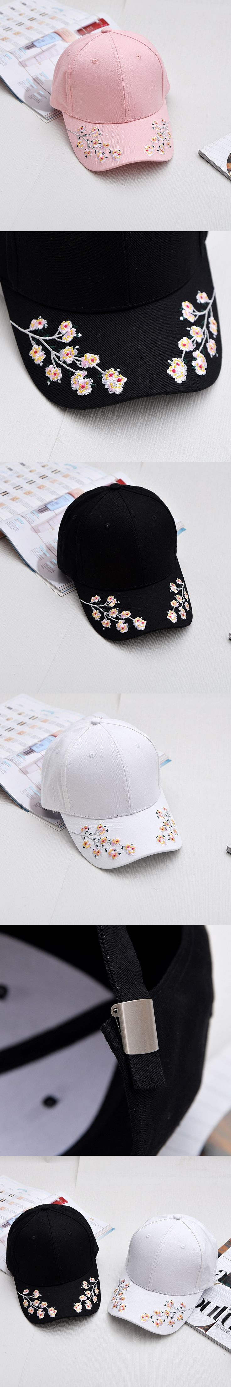 64aa1518a69 Cotton Baseball Hats for Women Plum Flower Embroidery Gorras Planas Hip Hop  Casual Snapback Caps Gifts