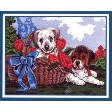 Collection D'Art 6.191 Pair of Puppies in a Basket Tapestry Canvas