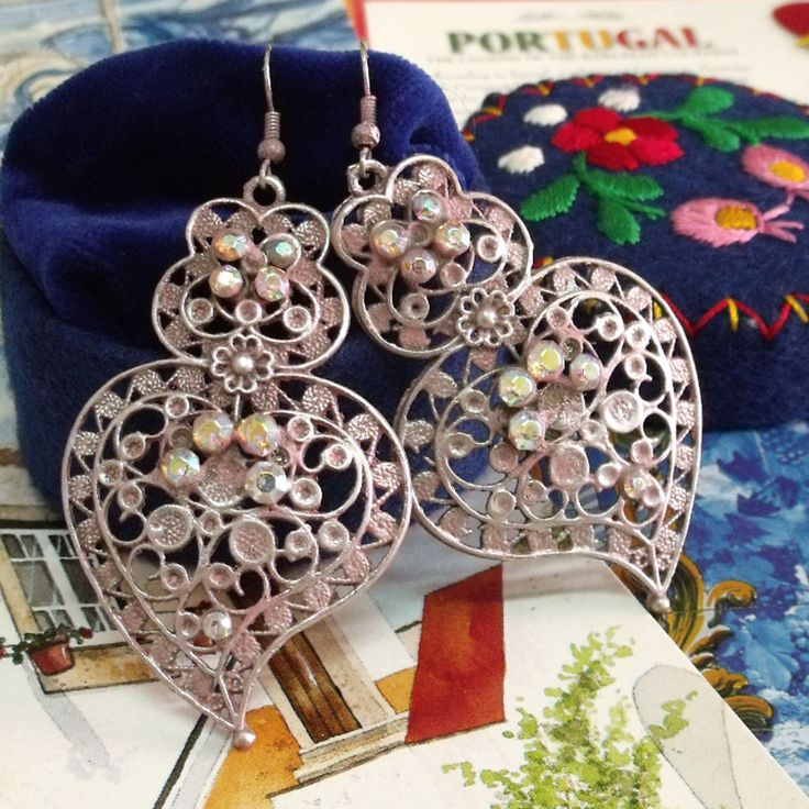 Portuguese folk Rose Hearts of Viana filigree rhinestones big earrings handpainted. It is my modern distressed version of this traditional jewelry style dangle in soft Pink and Silver...$32.00..#portuguese folk earrings#portuguese heart of viana#portuguese jewelry#made in Portugal#portuguese filigree earrings#rhinestones heart earrings