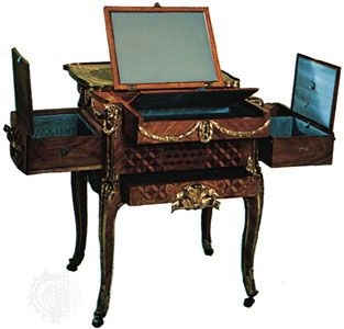 French 18th-century dressing and writing table by Jean-François Oeben or Jean-François Leleu; in the Wallace Collection, London.