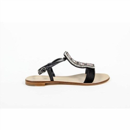 1,036.37$  Buy here - http://viohr.justgood.pw/vig/item.php?t=qft92n26985 - Black 37 EUR - 7 US Manolo Blahnik Womens Flat Sandal RIKLI VALL NAP BLACK