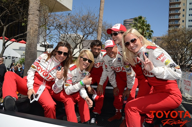 Kate del Castillo, Jenna Elfman, Jeremy Sisto, charity auction winner Dave Pasant, Jackson Rathbone, and Jessica Hardy get ready to head out to the grid.