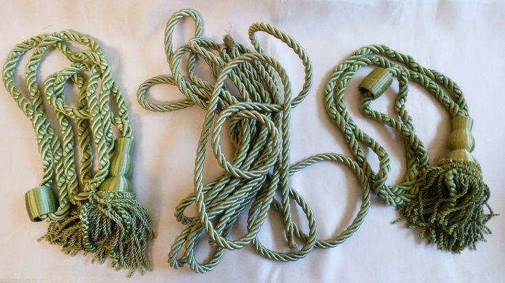 VTG lot of 3 1950s Mint Green Silk Curtain Drapery Tie back Tassels 6 yard Cord