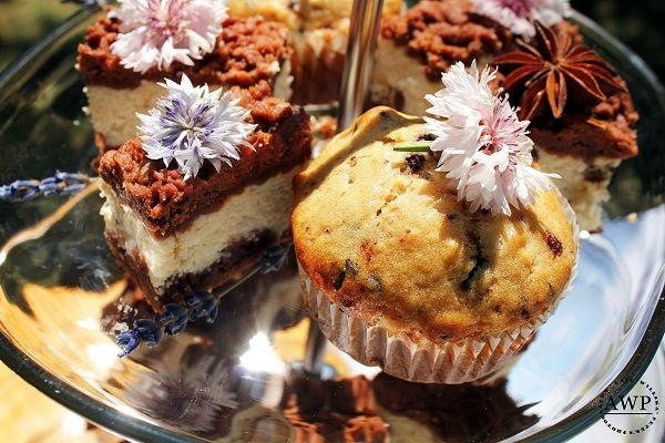 muffins and cookies with lavender and star anise