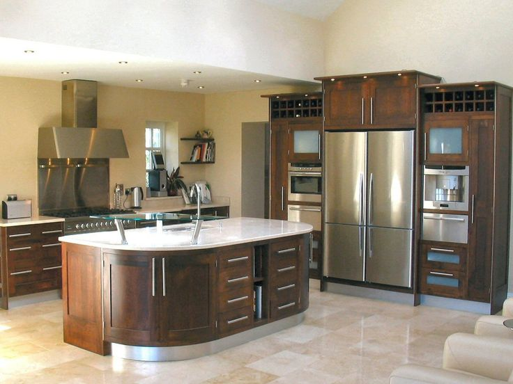 [Kitchen] : Impressive Kitchen Decorations Modest Framed Walnut Decoration  Along With High Gloss Finish Tiles Flooring Plus Side By Side Door  Refrigerator ...