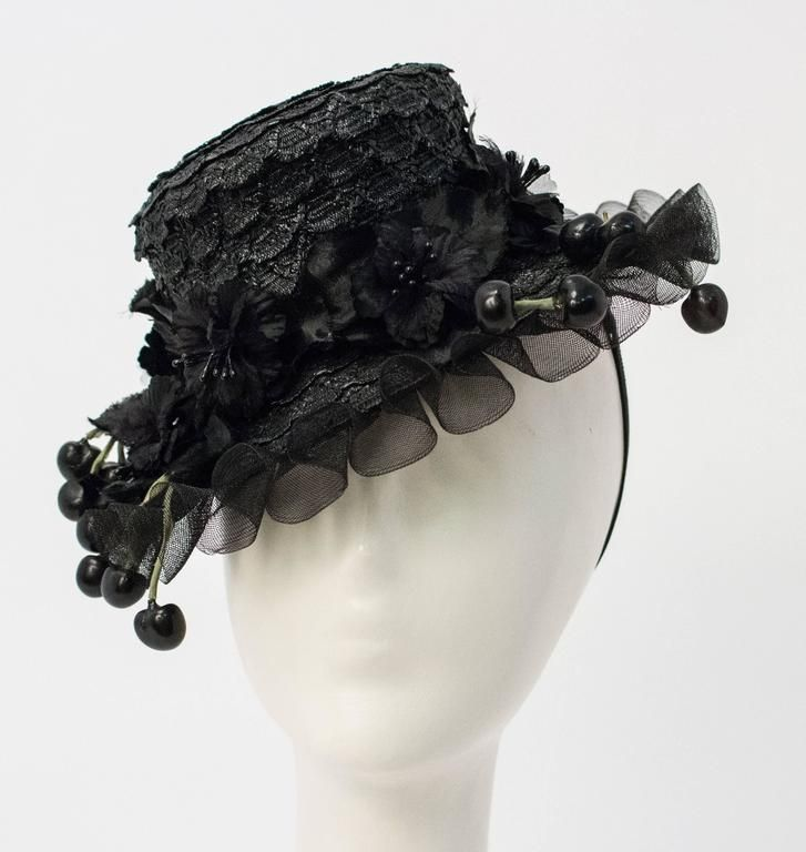 40s Black Straw Hat In Excellent Condition For Sale In San Francisco ... de6bba99e16c