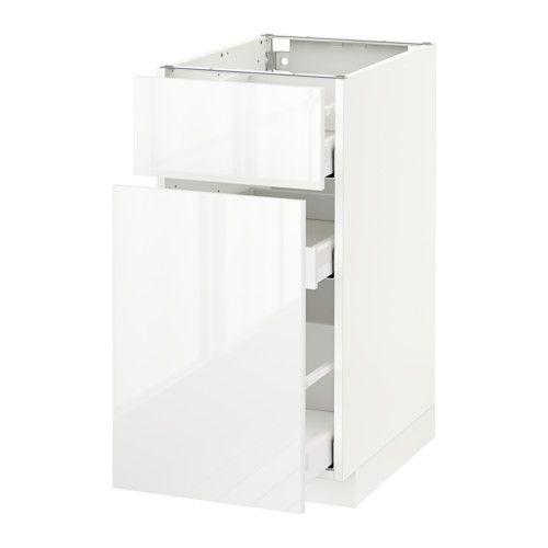 METOD / MAXIMERA Unterschrank mit Auszug/Schublade - Ringhult Hochglanz weiß, weiß, 40x60 cm - IKEA