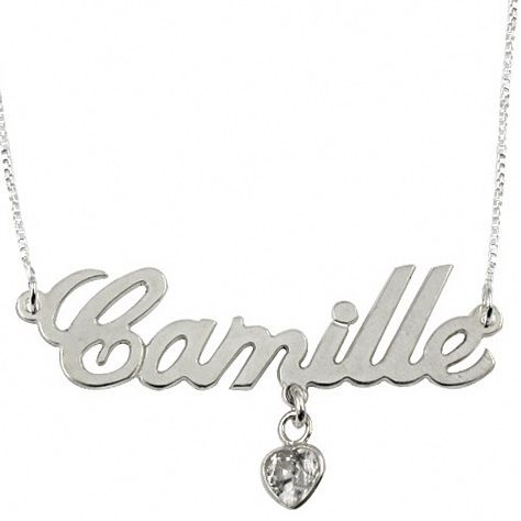 13018 - Sterling Silver Name Necklace with Heart Shaped Swarovski Crystal - $37.00