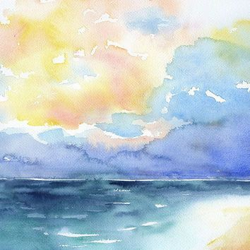 Shop Watercolor Paintings Of The Sea on Wanelo