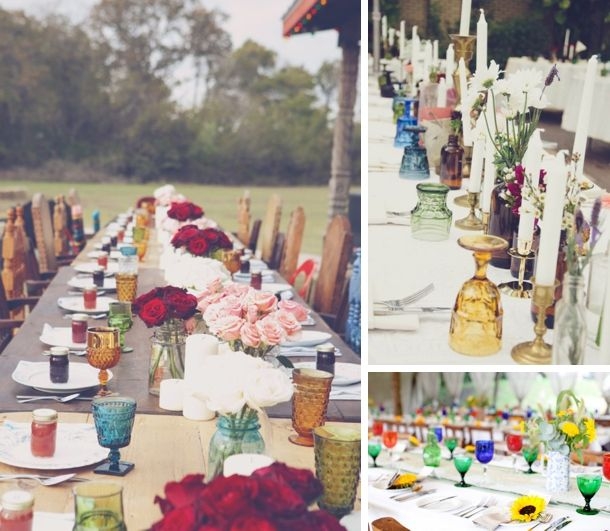 Brooke Schwab via 100 Layer Cake (left); Stacy Paul via Rock n Roll Bride (top right); Mister Phill via Rock My Wedding (bottom right) | coloured wine glasses #wedding #decor