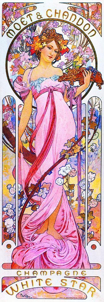 1899 - Moet Champagne Vintage French Nouveau France Poster Print Advertisement #ArtNouveau