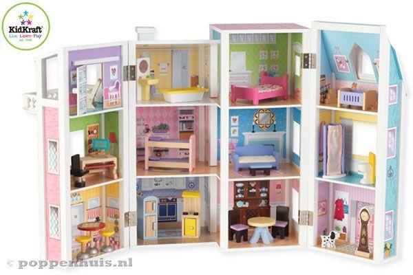 Uitklapbaar poppenhuis van Kidkraft.