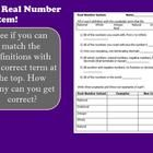 With this Smartboard presentation, students will learn the definition of numbers that are real, rational, irrational, integers, whole and natural. ...