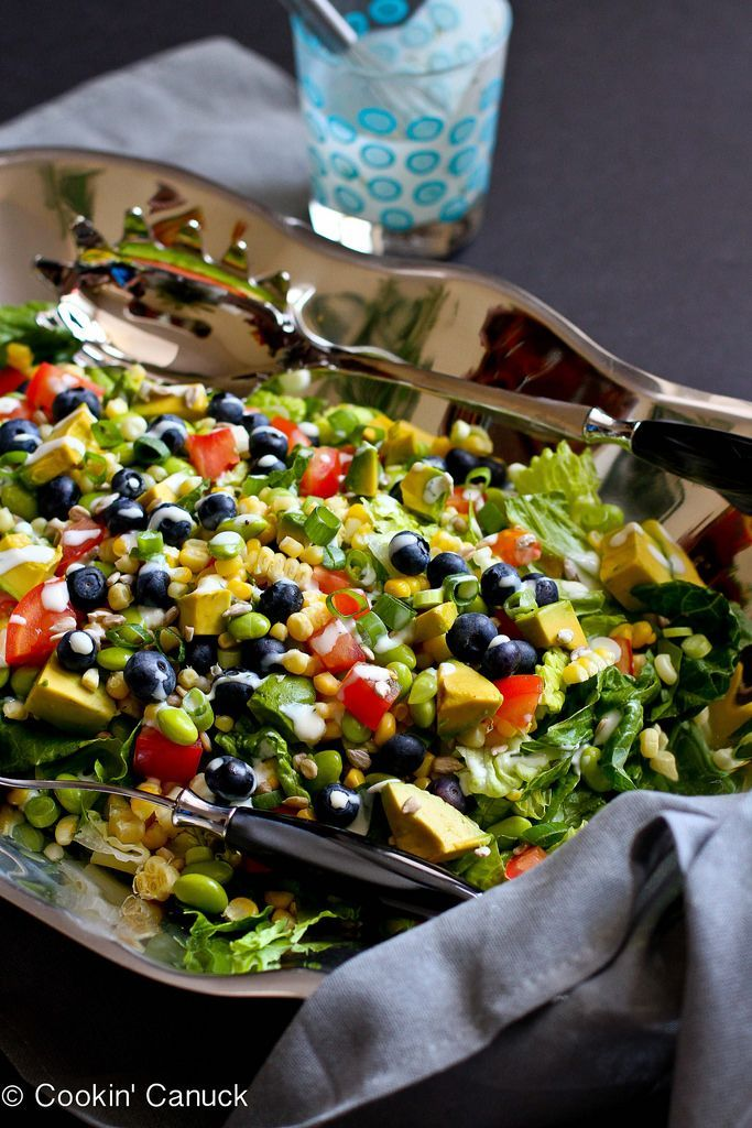 This ultimate summer salad is filled with a fantastic mix of summertime fruits and vegetables, and is topped with a creamy, low-calorie buttermilk dill dressing. 134 calories and 4 Weight Watchers SmartsPoints