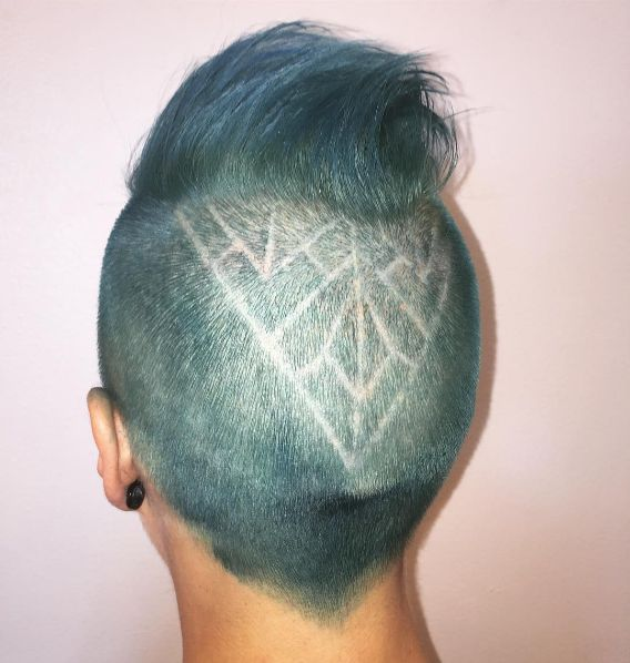 Taryn's beautiful sea green pompadour and geometric hair design were crafted by the magnificent Manda Kay.
