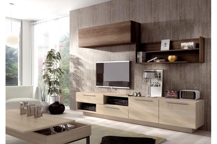 Mueble de salón modular nórdico/ébano - Merkamueble