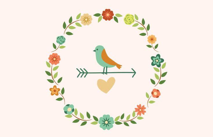 Pôster primavera, flores, flor, flower, coração, passarinho // Arquivo para download gratuito em dcoracao.com :-)