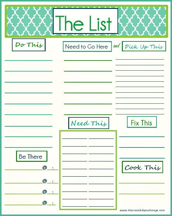 "Free Printable ""To Do"" List that covers just about everything! Can be used as a weekly or daily list {The Creativity Exchange}"