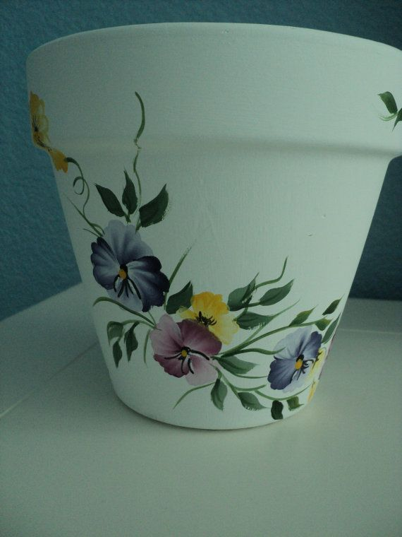 Hand painted Flower Pot  & Saucer Pansies by RaindropsNRoses, $12.99