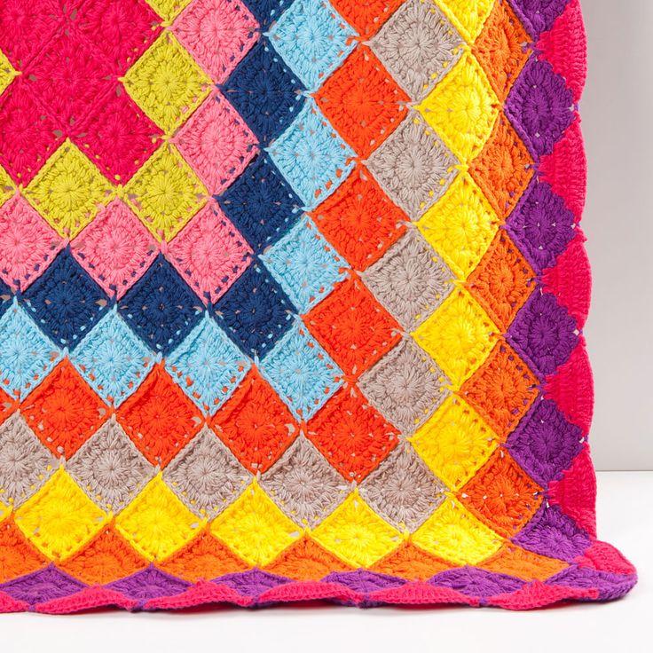 Multicoloured crochet blanket zara home t rkiye turkey for Zara home mantas